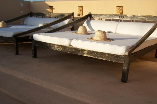 Riad Snan13: A view of one of the lounging areas on the terrace.