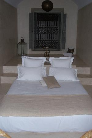 Riad Snan13: Our private suite. Behind the bed is a bathtub. There are separate sink, shower, and toilet area