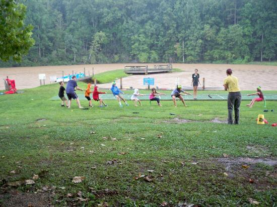 Hidden Creek Camping Resort: Tug of War game in the pouring rain!