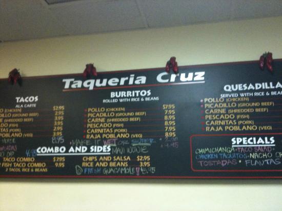 Taqueria Cruz: menu