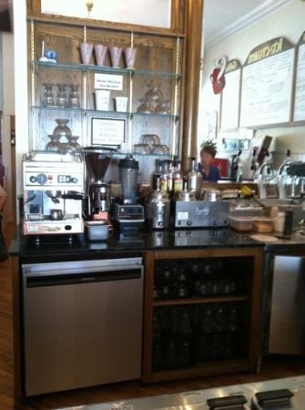 Tic TOC Ice Cream Parlor: Behind the counter