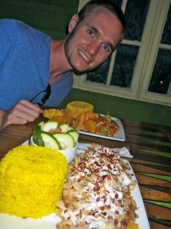 Natural Mystic: Mystic Chicken (foreground) Vegan Platter (aft)