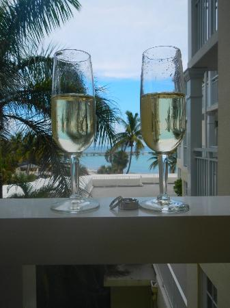 The Reach Key West, A Waldorf Astoria Resort: view from our room, with the champagne the hotel gave us as a wedding gift