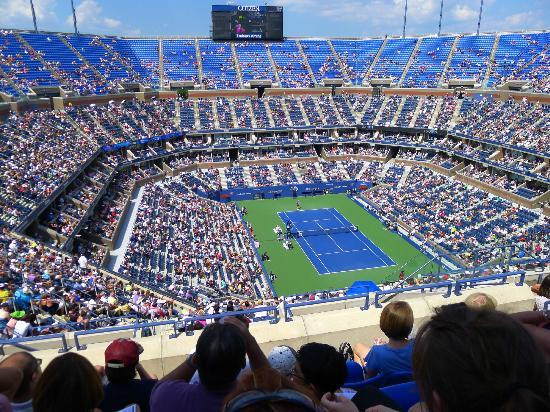 USTA National Tennis Center: Another daytime view from the higher seats at Arthur Ashe