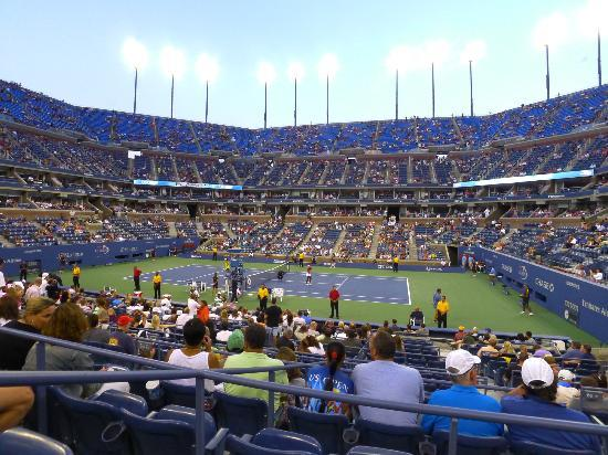 USTA National Tennis Center: Early evening at Arthur Ashe stadium