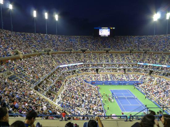 USTA National Tennis Center: Arthur Ashe stadium during a night match