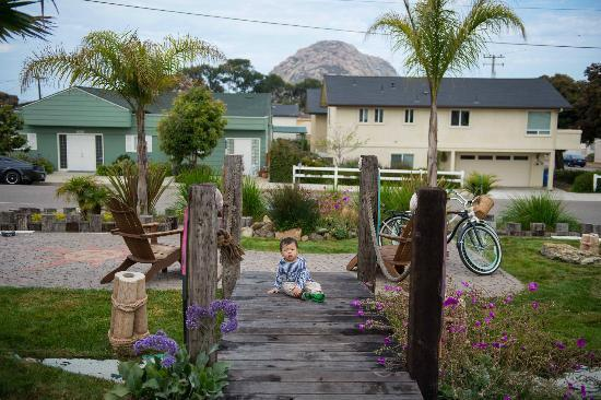 ‪بيتش بنجالو إن آند سويتس: My son with Morro Rock in the background at the motel.