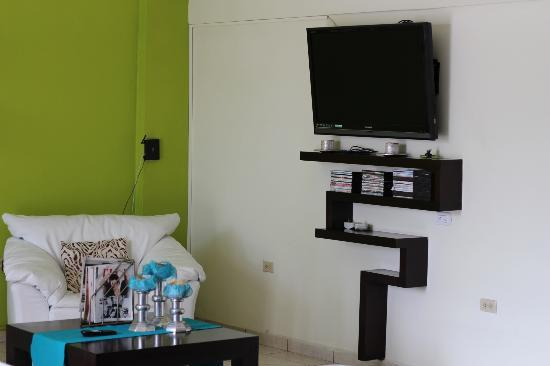 Villa del Angel Hotel: Lounge area LCD TV and video library