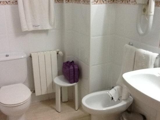 Hostal Santo Tome: Modern bathroom has all comforts of home.