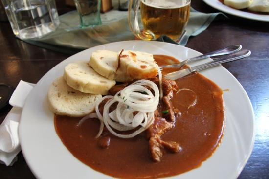 beef goulash with bread dumplings - Picture of U Parlamentu, Prague ...