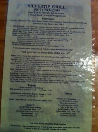 Silvertip Grill: menu