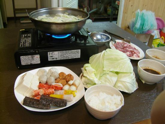 Lalashan Happy Farm: Steamboat dinner prepared by Mr Chen of Happy Farm. A lot of food for two persons.