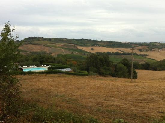 Villa Dini: het zwembad + uitzicht van op de weg