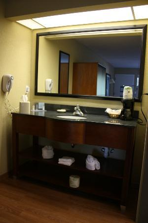 Hampton Inn Clearwater Central: Handbasin area waslocated outside the bathroom