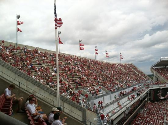 """Bryant Denny Stadium: 14 flags for the 14 Nation Championships won by the """"Tide"""""""