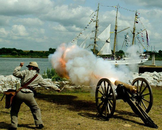 Old Fort Jackson salutes the Tall Ships as they arrive in Savannah.
