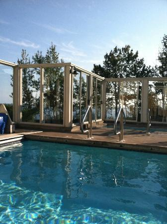 Bluefin Bay on Lake Superior: view from the outdoor pool/spa