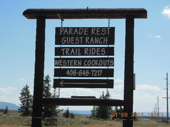Parade Rest Ranch: The sign for the Ranch