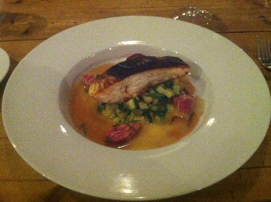 Hanne pa Hoyden : halibut with tarragon & rhubarb sauce