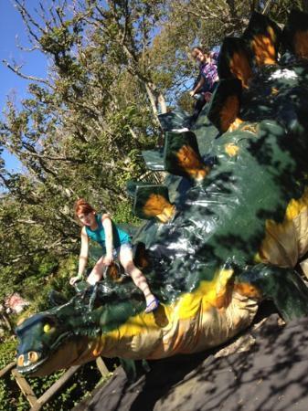 Blackgang Chine: the girls enjoying dinosaur land