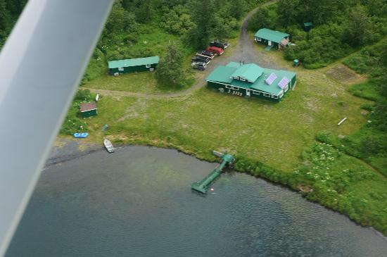 Saltery Lake Lodge: The lodge and cabins from the air