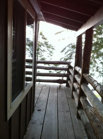 Odell Lake Lodge: standing at front door, which is side of cabin