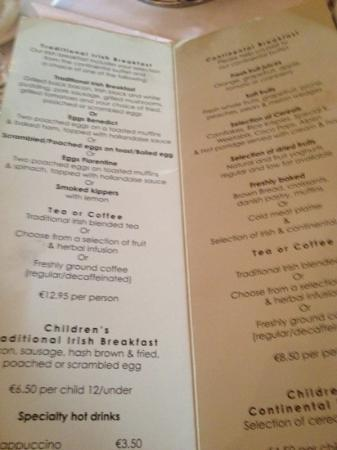 Red Cow Moran's Hotel: breakfast menu