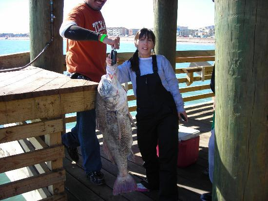 Galveston's 61st Street Fishing Pier: Dede's catch!!!