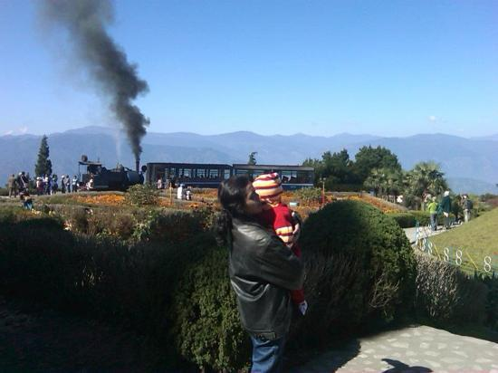 Darjeeling Himalayan Railway: Dipa and Guddu in front of Toy Train