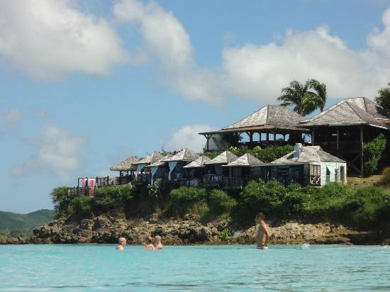 Bolans, Antigua: resort from beach with Sheer Rocks