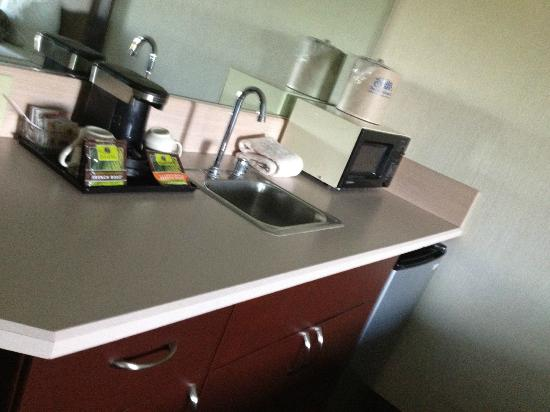 Shilo Inn Suites Hotel - Idaho Falls: kitchenette area. Big counter, with fridge, microwave & another sink! This was great!