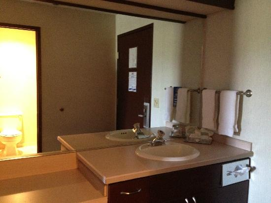 Shilo Inn Suites Hotel - Idaho Falls: Big mirror & counter