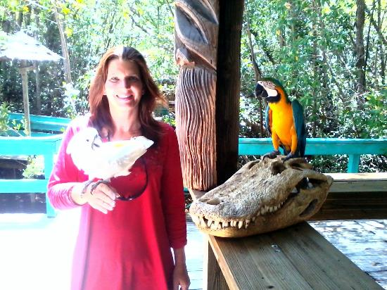 Jungle Erv's Everglades Airboat Tours: Jodi with Phantom and Capitan Jack sitting on a huge gator skull
