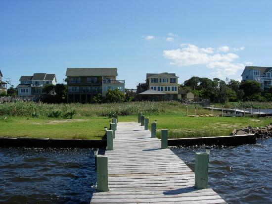 The Inn on Pamlico Sound: View of the two buildings from the end of their dock.