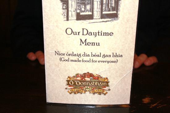 O'Donnabhain's Gastro Bar : Menu Cover