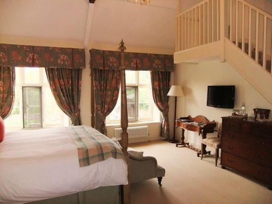 The Bell at Skenfrith: This room is called Heckham Peckham. it has a four poster, a roll top bath, and beautiful views
