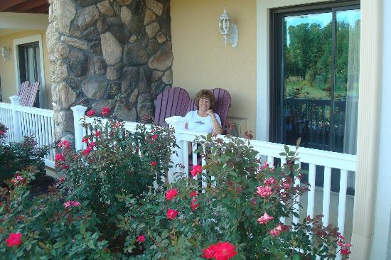 Berlin Resort: My wife reading her Nook on our private porch in a serene setting.