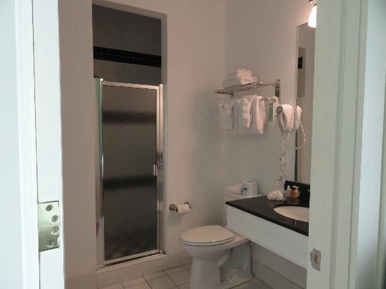 Prytania Oaks Hotel: Double-size shower with bench
