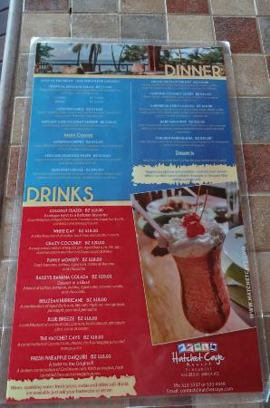 Hatchet Caye Resort: the menu