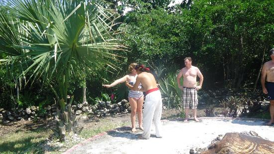 Temazcal Cenote Experience: Getting the purifying smoke on us around the fire. It was made from tree sap and smelled great.