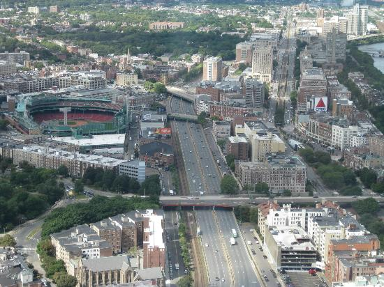 Boston Hotel Buckminster: Buck red brick building in upper center, between Fenway/Mass Pike left and CITGO sign on the ri
