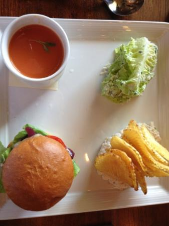 Murray Circle: sampler lunch with burger, cold tomato soup, Caesar salad and onion dip with homemade potato chi
