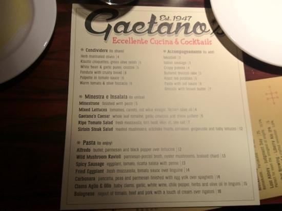Gaetano's Restaurant: Gaetano's new menu