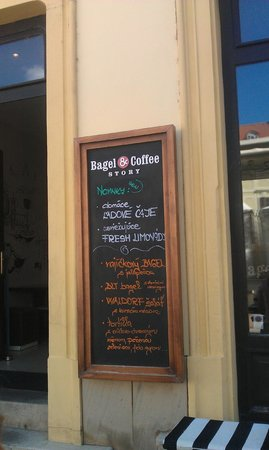 Bagel and Coffee Story: Menu offering fake bagels.