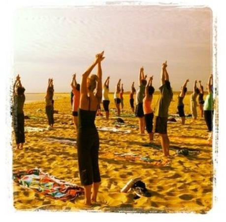 Chatham Lighthouse Beach Yoga: half moon