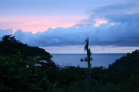 TikiVillas Rainforest Lodge: Sunset view from our room