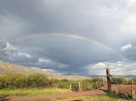 Laramie River Dude Ranch: Beautiful rainbow from outside the main lodge.