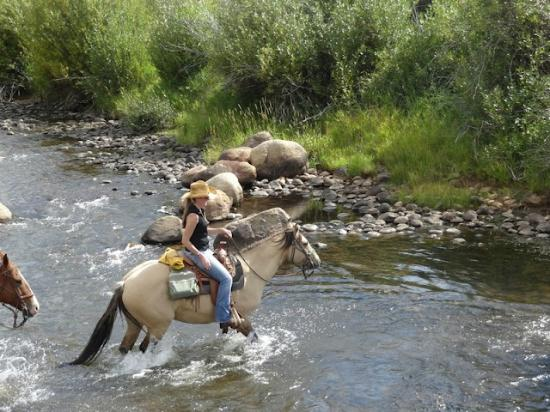 Laramie River Dude Ranch: Crossing the river.