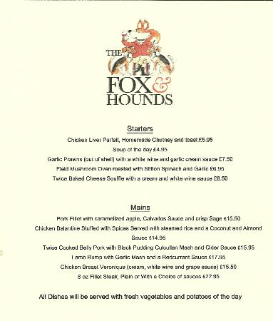 The Fox and Hounds: sample menu