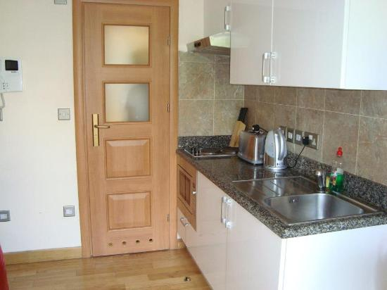 Hyde Park Suites: Cucinino e porta del bagno